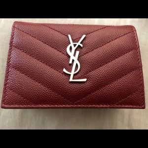 Saint Laurent Texture Leather Card Case Bordeaux